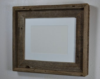 8x10 natural gray wood picture frame withwhite 8x6 or 5x7 mat