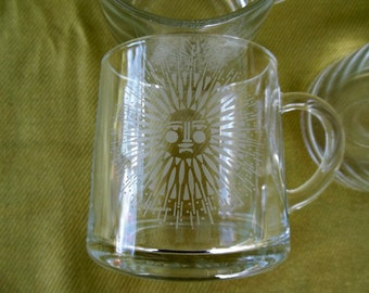 Vintage Garrick Glass Mugs - Set of 4