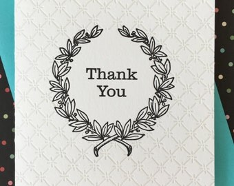 Thank You Wreath Letterpress Card