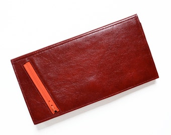Large Leather Travel Wallet, Passport Holder, Travel Phone Wallet, Slim Leather Wallet - The Stella Travel Wallet Clutch in Oxblood Red