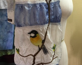 Needle Felted Bird Silk Scarf - Australian Golden Whistler - Beautiful Handpainted Two Color Handmade Scarf by Val's Art Studio