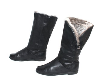 size 8 WINTER charcoal black leather 70s 80s RABBIT FUR lined midcalf boots
