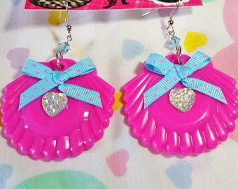 Sea shell drop earrings, mermaid sparkle hot neon pink dangle seapunk