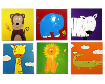 6 Jungle Animal Canvases  / Children's Art / Painting / Nursery Decor - Monkey, Lion, Elephant, Zebra, Crocodile and Giraffe