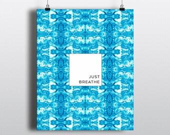 ART PRINT 8x10 Shibori Batik Teal Just Breathe