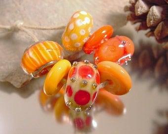 Handmade lampwork glass beads, Artisan glass beads, orange beads, red beads, coral beads, stripe beads, polka dot beads, SRA lampwork