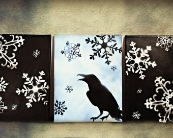Three Piece Canvas - Holiday Raven - Home Decor - Wall Hanging - Gothic Home Decor - Wrapped Canvas - Black and White Snowflakes