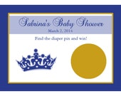 24 Personalized Baby Shower Scratch Off Game Cards -  Little Prince - Royal Blue and Gold