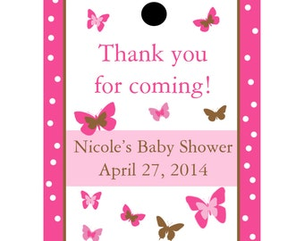 24 Personalized Baby Shower Favor Tags - Butterfly Design in Pink