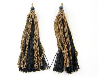 Black Fringe Tassel Earring or Pendant Findings Antique Gold Chain Black Bead Jewelry Components |BL8-8|2