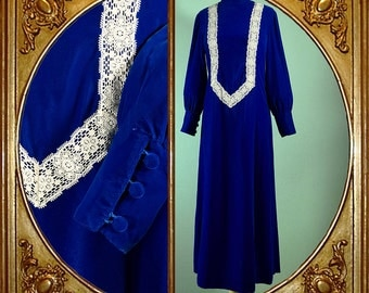 60s 70s royal blue velvet handmade Victorian maxi dress