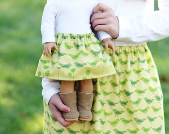 Matching Girl and Doll Clothes fits American Girl - Nest Birds in Sage Twirl Skirts, Many Sizes Available