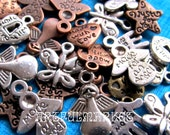 Charm Mix, Made With Love Charms, Antique Copper Charms, Antique Silver Charms, Antique Brass Charms, Hand Charms, Angel Charms,Heart Charms