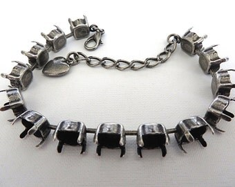 Bracelet Setting Antique Silver Plated Empty Cup Chain for 39ss 8mm Chatons