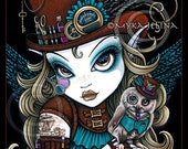 "SALE Myka Jelina print ""Jewels & Vern"" signed  8""x10"" Steampunk Owl Aviatrix Fairy Art"