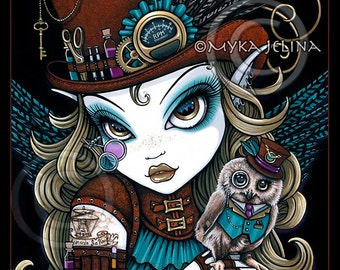 "Myka Jelina print ""Jewels & Vern"" signed  8""x10"" Steampunk Owl Aviatrix Fairy Art"