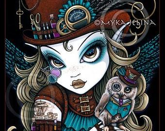 Jewels Canvas Print Signed Steampunk Owl Aviatrix Fairy Art