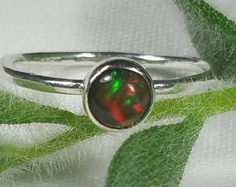 Black Opal Ring, Opal Ring, Small Opal, Size 5 Ring, October Birthday, Dark Opal Stacking Ring, Orange, Green Opal by Maggie McMane Designs