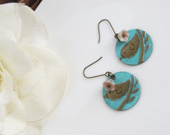 Patina Bird, Fall Czech Glass Bell Flowers. Nature Garden Inspired Woodlands Earrings, Hand Painted Patina Antiqued Brass Ear Accessories