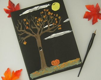 Folk Art Journal, Hand Painted Book, Autumn Notebook, Extra Large Moleskine Cahier, Folk Art Painting, Fall Leaves Painting, Spooky Journal