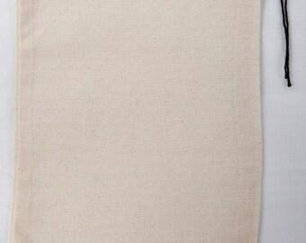 10 8x10 inch Cotton Muslin Black Hem and Black Drawstring Bags