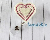 Cream and Red Heart Felt Badge Holder with Retractable Badge Reel. A ID Badge Holder for yourself or for a favorite nurse or coworker