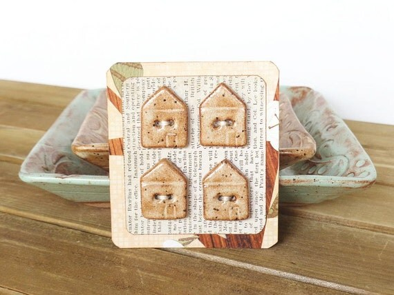 Ceramic House Buttons in Speckled Tan Glaze, Set of 4, Rustic Sewing Notions