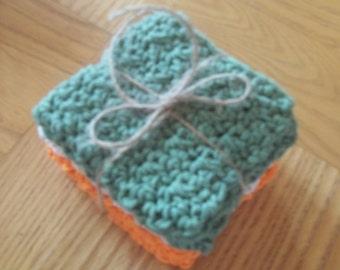 Crochet Dish Cloths - Wash Cloths - Set of three - 100% Cotton - Olive Green, Natural, Orange
