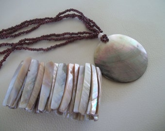 Shell Necklace and Stretch Bracelet, Shell Jewelry, Beach Jewelry