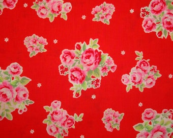 SALE Red White and Pink Rose Bouquet 31129 by Lecien Fabrics Flower Sugar Clearance