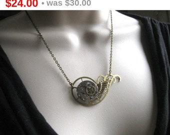 Steampunk necklace, vintage watch movement - botanical bird original design
