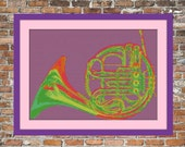 French Horn Pop Art Counted Cross Stitch Pattern