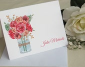 Watercolor Roses Note Cards - Personalized Note Cards - Antique Roses - Wild Roses Stationery