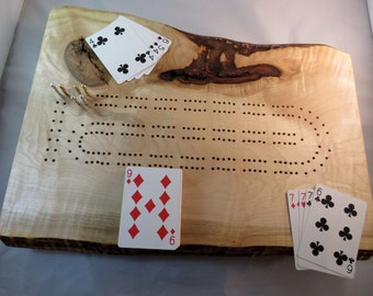 Rustic Curly Maple Cribbage Board with Live Edge K6
