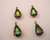 4 Vintage Vitrail Glass Rhinestone Pear Drop Charms 13x8 antique brass ox  Prong Settings 1 Ring Closed Backs
