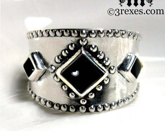 Medieval Silver Ring Gothic Black Onyx Studded Band 3 Wishes Size 8