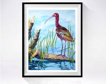 Shore Bird - Watercolor Prints nature painting Long necked bird prints Ibis painting Realistic artwork blue painting 43