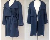 NEIMAN MARCUS navy blue trench coat / 80s 90s / silky double breasted, pleated skirt back, womens small medium petite