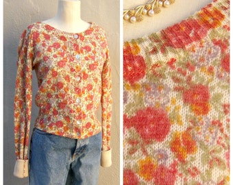 Sweet roses cardigan / red pink orange floral cardigan, 50s 60s, abalone buttons, womens girls cardigan, small xs