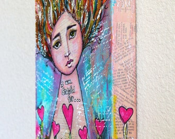 Thankful Girl Original Mixed Media Art Original Acrylic Painting On 8 x 10 Canvas