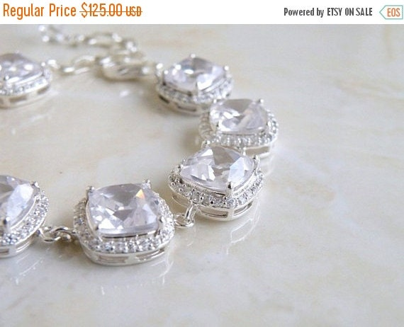 Clearance SALE Bridal Bracelet Cushion CZ Halo Rhinestone Silver IBC1
