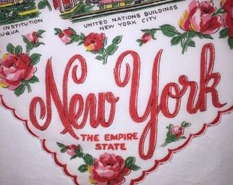 Vintage New York State Hanky - Handkerchief Hankie
