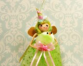 Easter ornament Easter pixie Easter fairy green and pink doll fuzzy chick party decor ooak art doll vintage retro inspired pink and gold