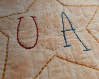 Patriotic USA  Candle Mat, Hand Stitched, Primitive, USA, Americana