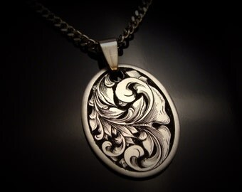 Hand Engraved Stainless Steel Art Nouveau Scrollwork Necklace