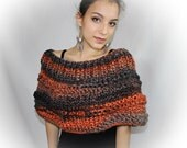 Short poncho hand knit chunky for women wrap cape capelet cowl boho wool shawl forest falling leaves 100% acrylic bulky winter brown orange