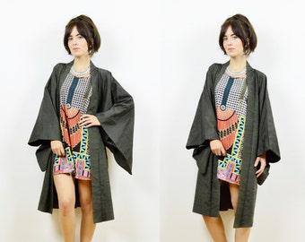 Vintage Japanese kimono, kimono jacket, kimono robe, boho kimono, 80s kimono, kimono duster, grey jacket, Japanese kimono, vintage kimono
