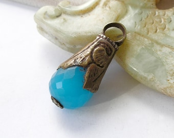 Tibetan Healing Pendant Vintage Blue Chalcedony Brass Repousse For Ethnic Jewelry Making