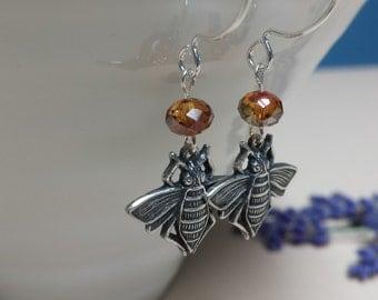 Antique Silver Honey Bee Fish Hook Earrings, SWAROVSKI Crystal, Dainty Fish Hook Everyday Earrings, Chic, Nature, Woodland Jewelry