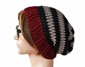 Black Grey and Maroon Striped Slouch Beanie Slouchy Beanie Mens Womens